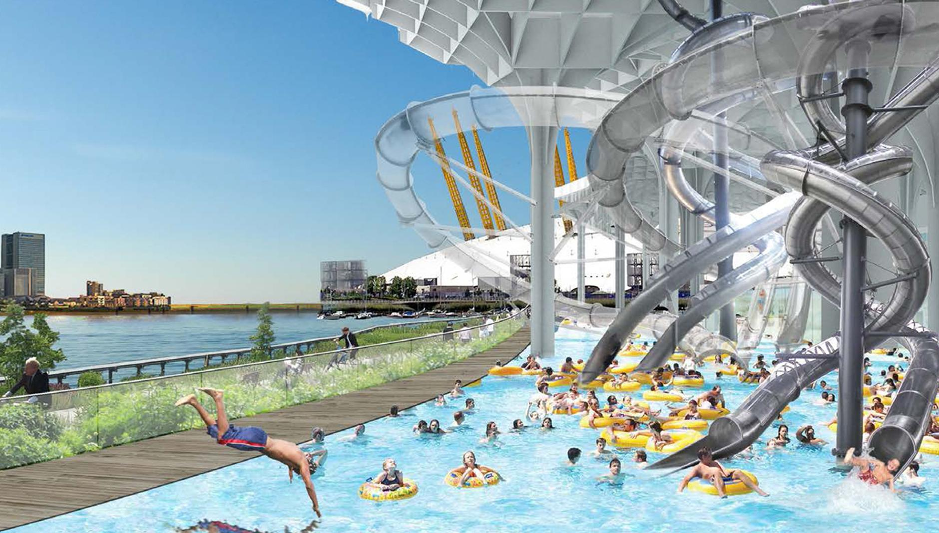 Public spaces along the thames waterpark london - London swimming pools with slides ...