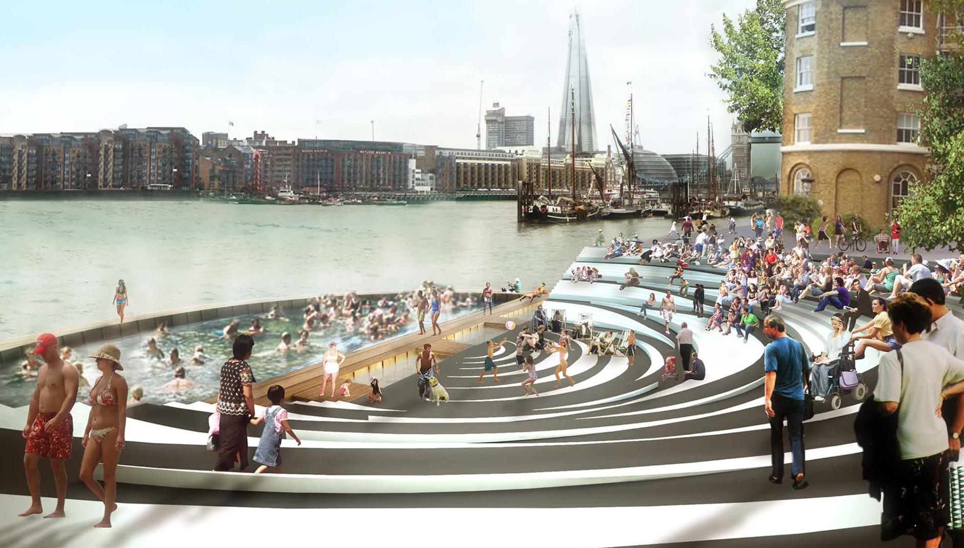 Public Spaces Along The Thames Swimming Pool London Farshid Moussavi Obe Ra Riba